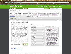 Screenshot showing example of making a vocabulary list from text.