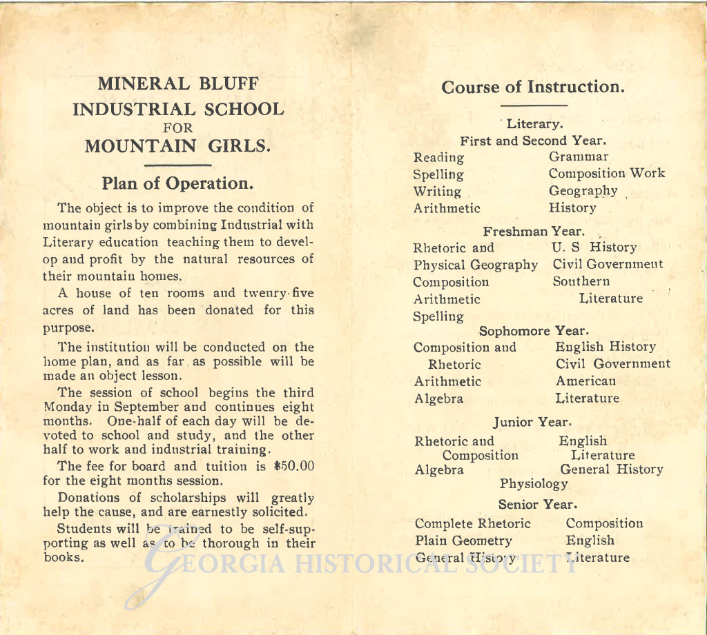 Mineral Bluff Industrial School For Girls Pamphlet-2