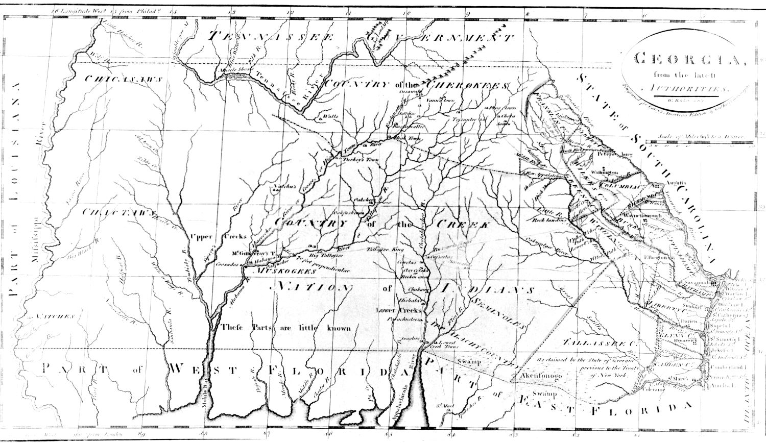 Georgia From the Latest Authorities, 1795. Georgia Historical Society Map Collection, MS 1361MP-063.